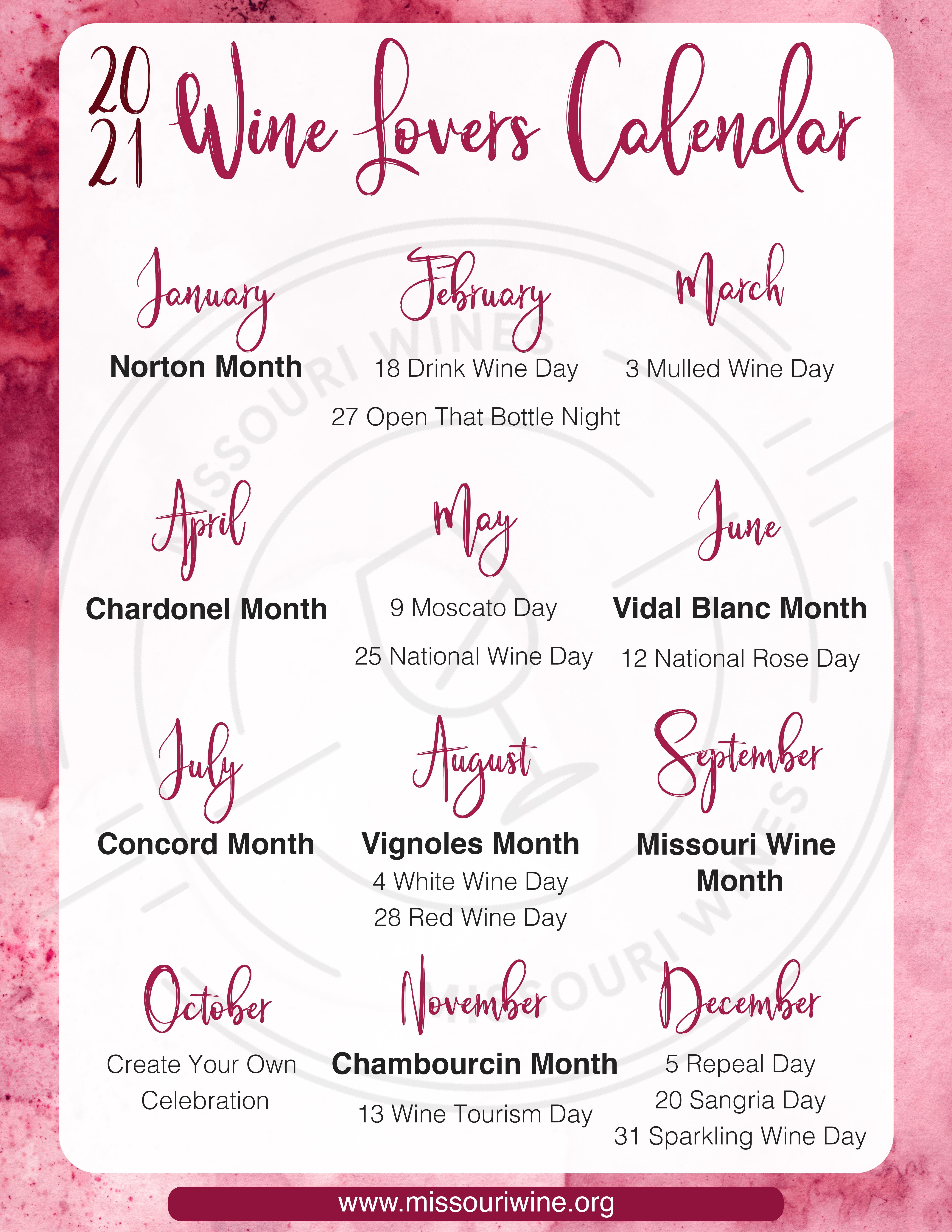 MO Wine Lover's Calendar