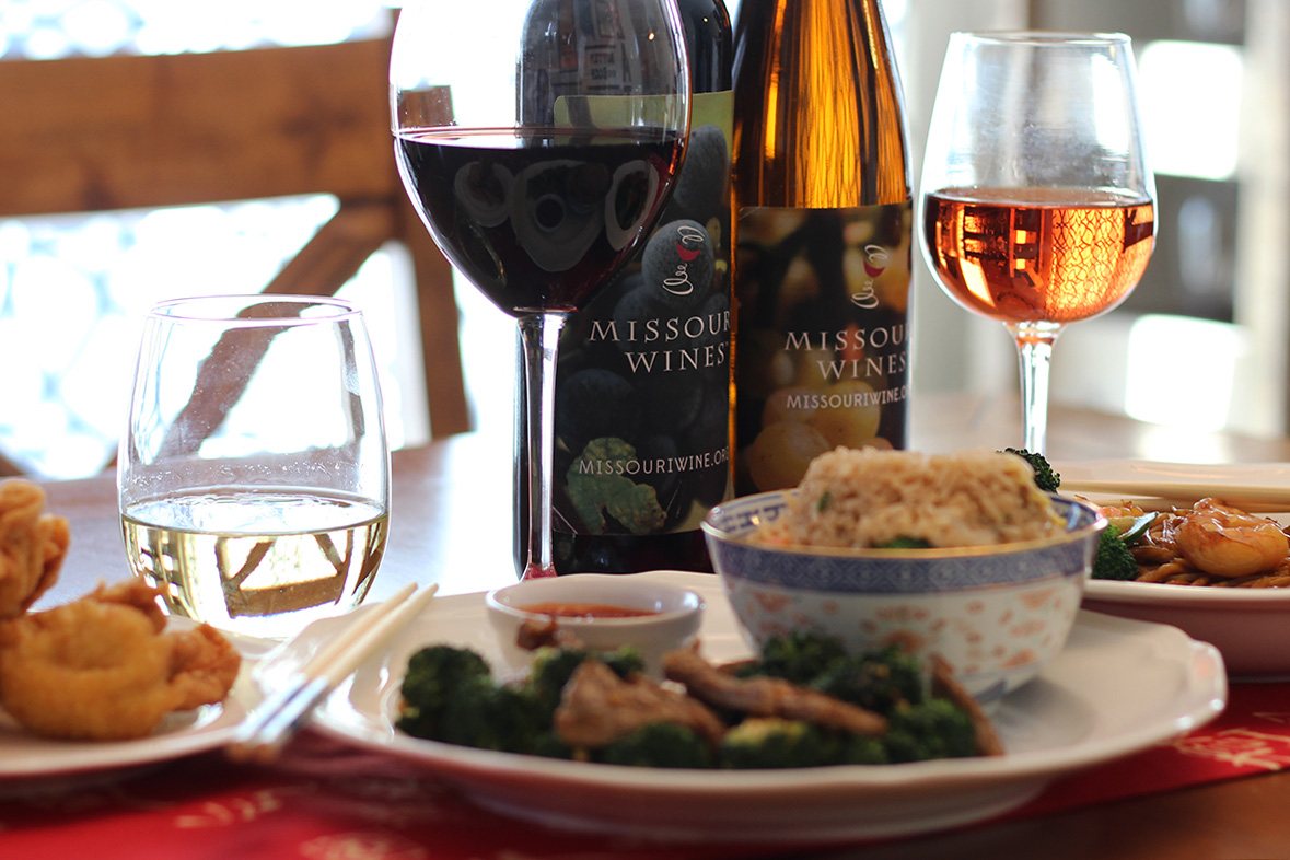wine Asian food and