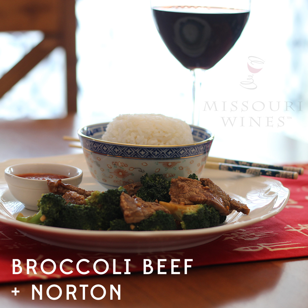Pairing MO Wine and Chinese Food: Broccoli Beef + Norton