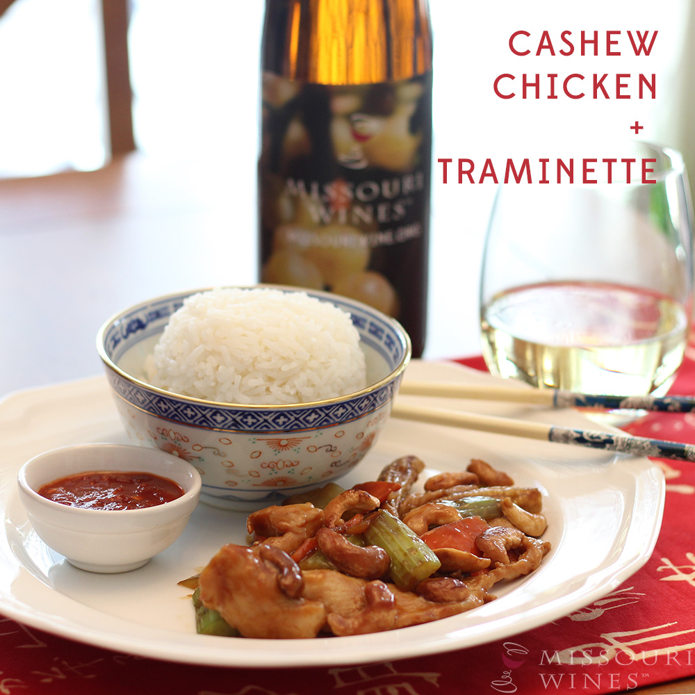 Pairing MO Wine and Chinese Food: Cashew Chicken + Traminette