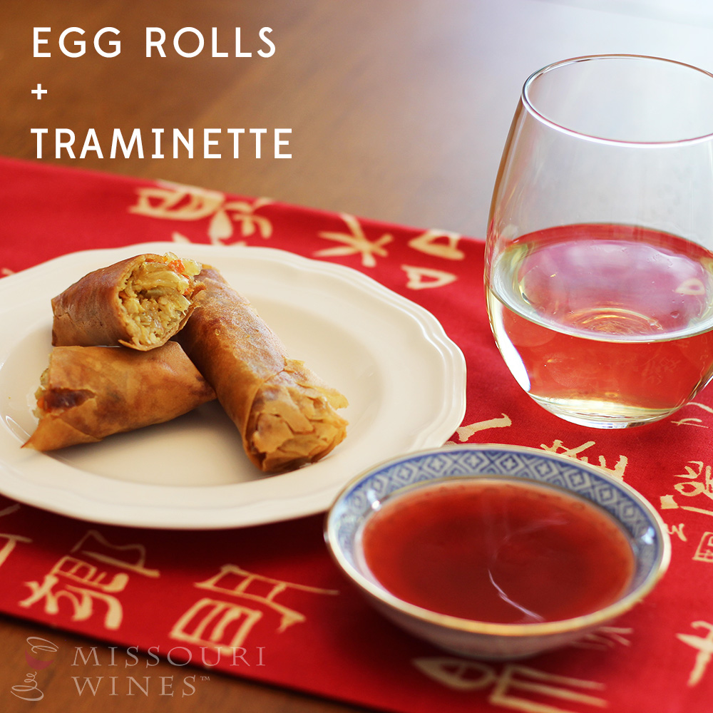 Pairing MO Wine and Chinese Food: Egg Rolls + Traminette