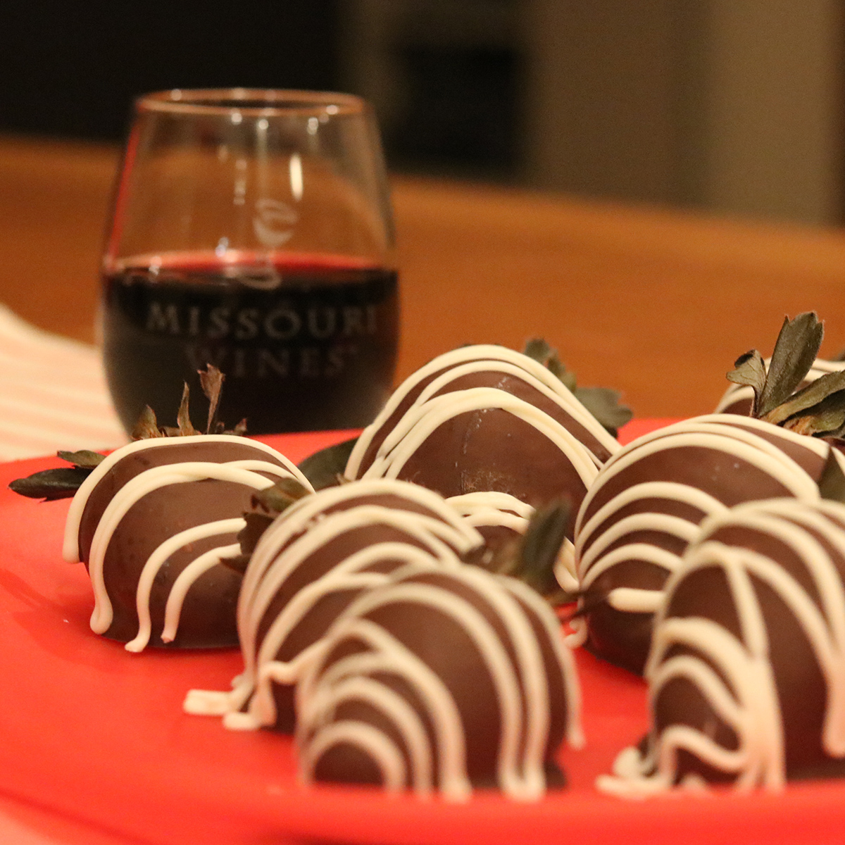 Wine Infused Chocolate Covered Strawberries from MissouriWine.org