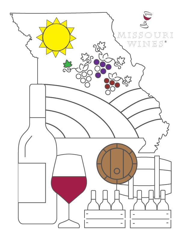 Destress with this free, printable coloring page from Missouri wines!