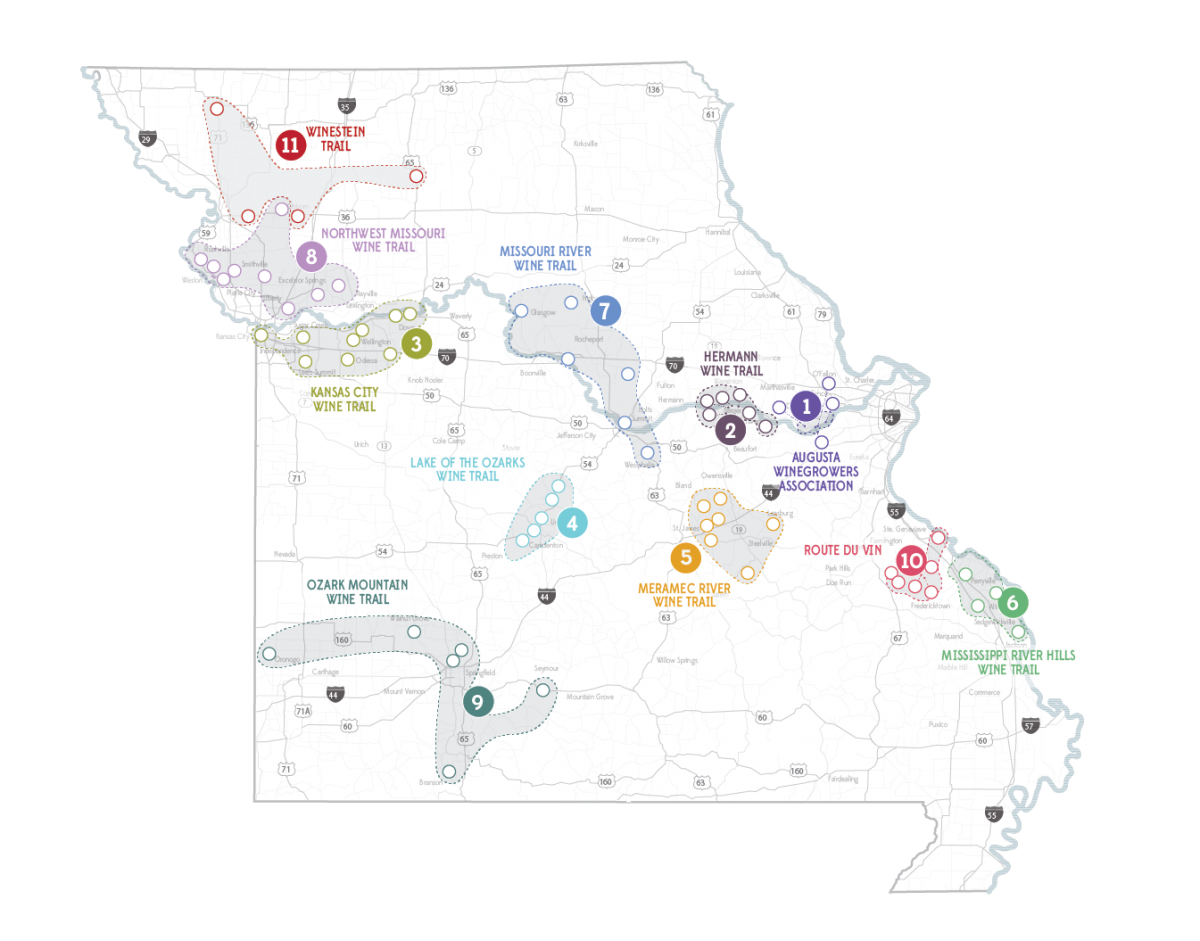 Map of Missouri's Eleven Wine Trails