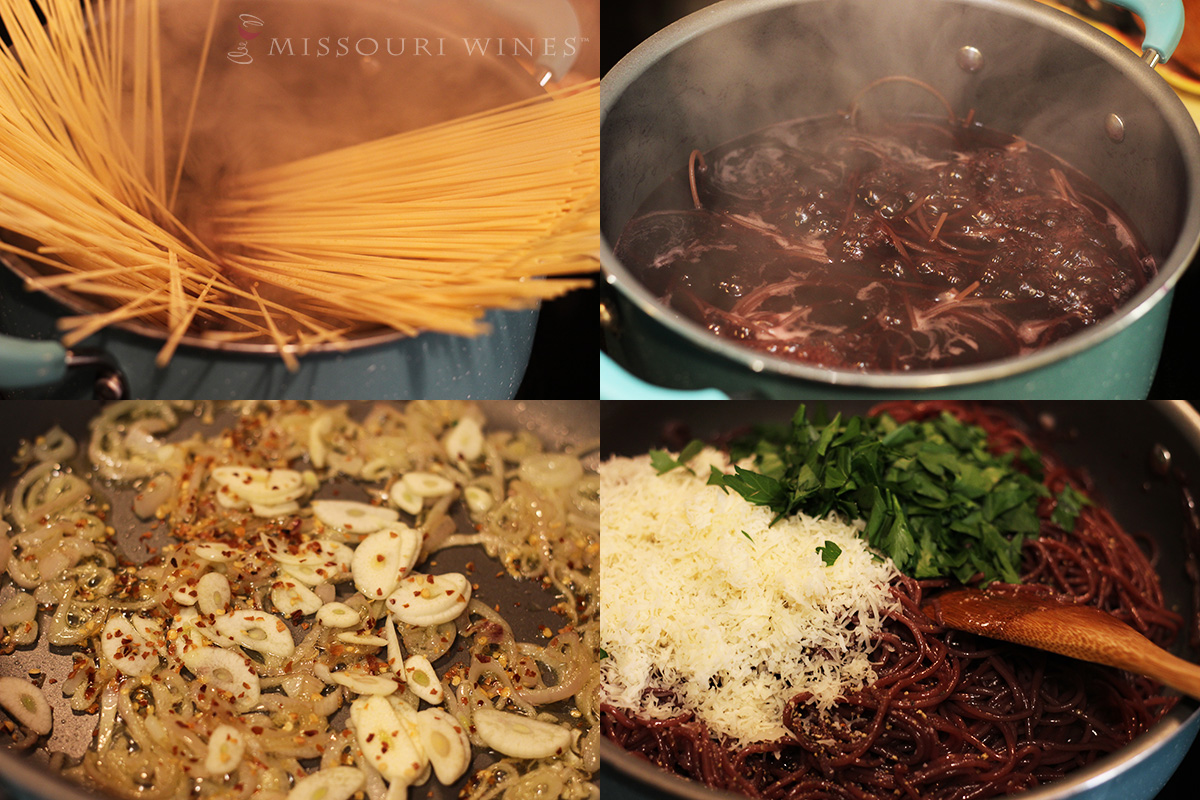 Pasta Cooked in Red Wine - Missouri Wine