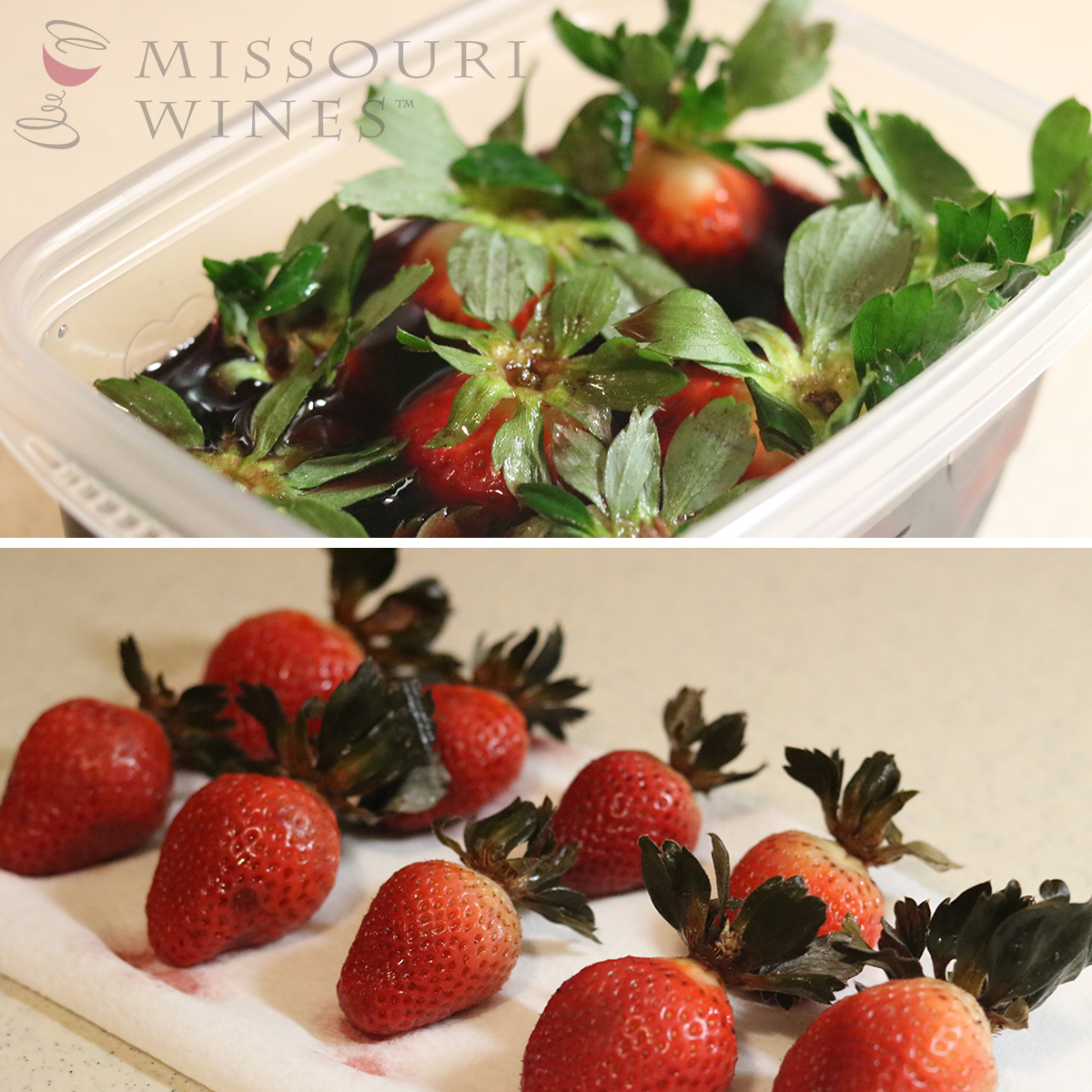 Missouri wine infused chocolate covered strawberries, soak and dry