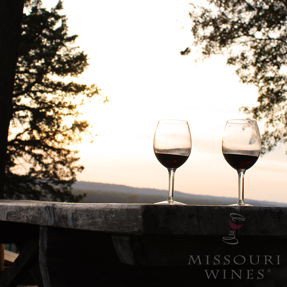 What we are thankful for: Local wine with a Missouri River Blufftop view.
