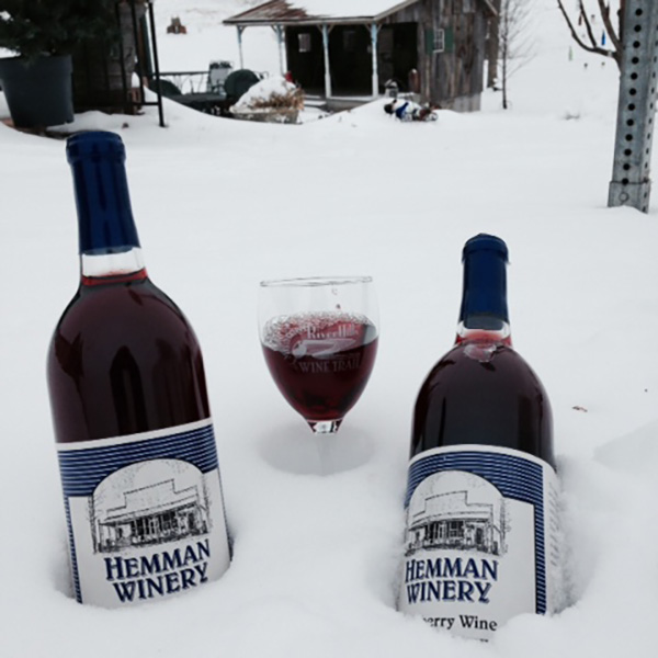 Nature's refrigerator... Hemman Winery wine nestled in the snow. | MO Wine