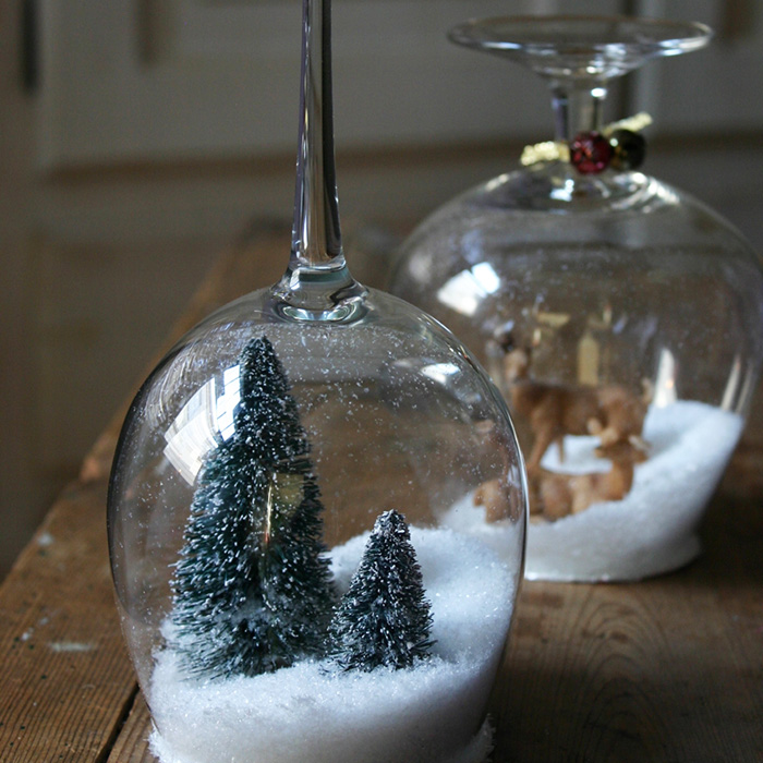 Wine glass snow globes! | 6 Wine Crafts Full of Holiday Cheer
