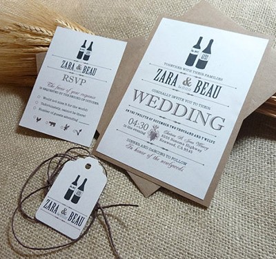 Planning the perfect winery wedding mo wine invitations set the stage for your weddings theme with the invitations stopboris Gallery