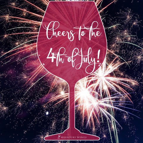 Cheers to the 4th of July on wine glass with firework background