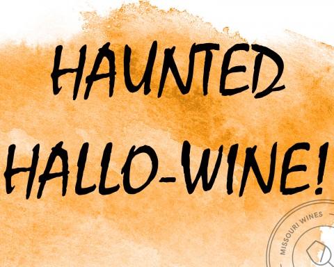 Haunted Hallo-Wine with orange wine stain background