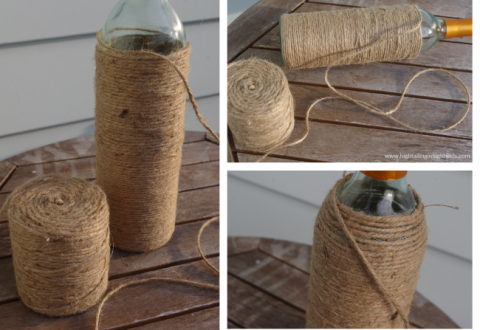 Wine bottles wrapped in jute