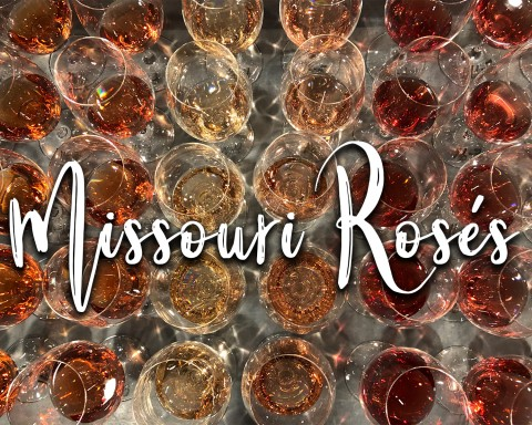 Missouri Rosés title over various shades of rosé wine.