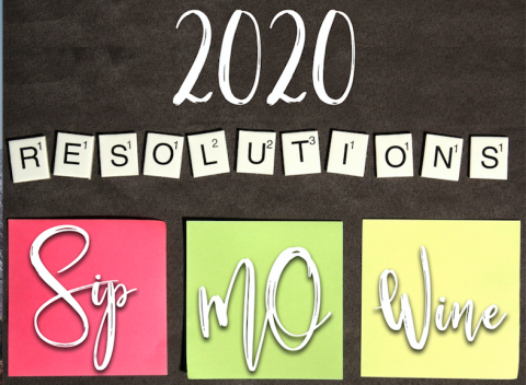 "2020 resolutions with ""Sip MO Wine"" on post-it notes"