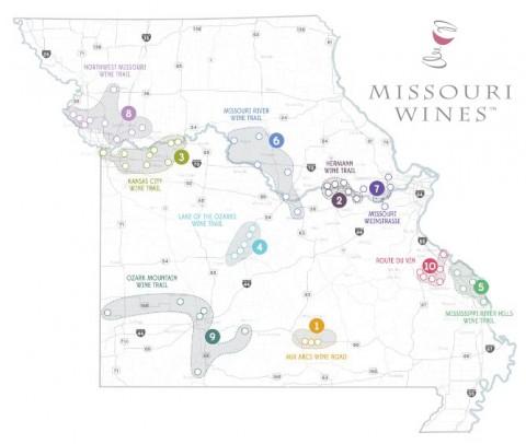 Map of wine trails in Missouri
