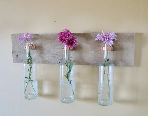 Wine bottle vase decor