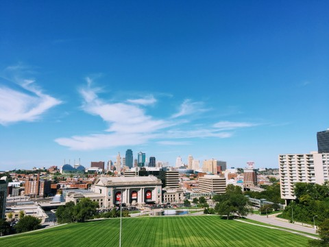 wide angle shot of Kansas City's downtown buildings