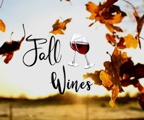 Fall leaves with the words Fall Wines and two wine glasses