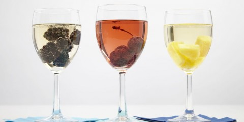 Frozen fruit in wine is a great way to get and keep it chilled.