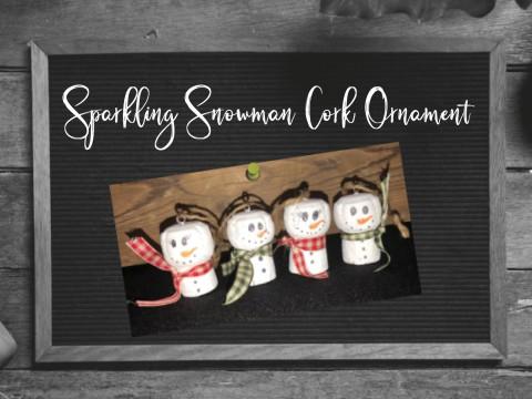 Sparkling Snowman Cork Ornament