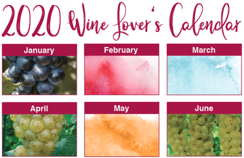2020 wine lovers calendar with months listed and grape images
